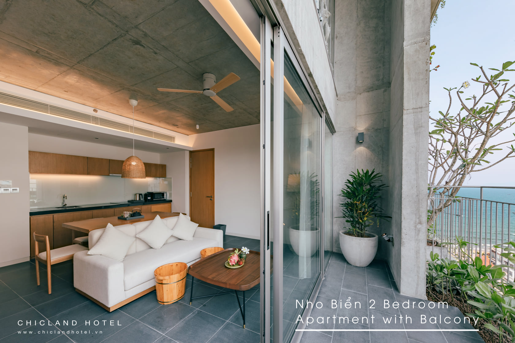 Phòng Căn hộ Nho Biển Balcony 2 Phòng Ngủ